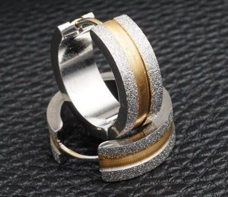 Acél fülbevaló arany-ezüst színben