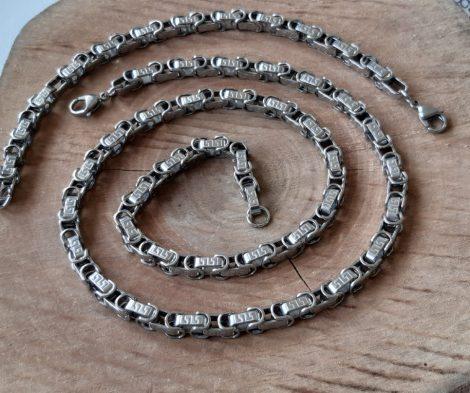 Görög mintás acél ékszerszett ezüst színben