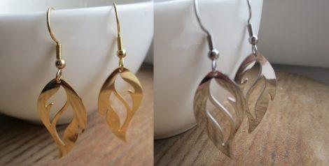 Acél fülbevaló láng mintával arany vagy ezüst színben