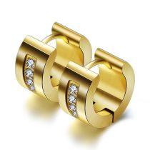 Acél fülbevaló foglalt kristályokkal arany vagy ezüst színben