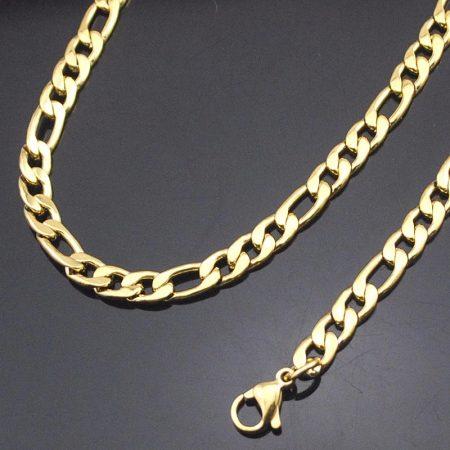 Vastag acél figaro nyakánc arany színben