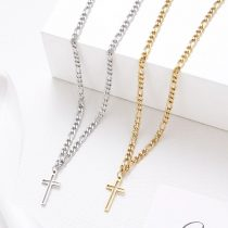Acél nyaklánc kereszt medállal arany vagy ezüst színben