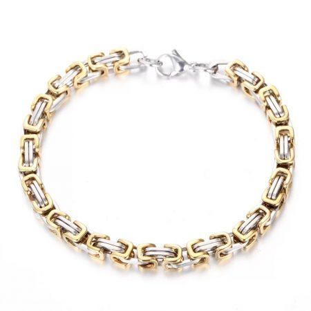 Nemesacél karkötő bizánci mintával arany-ezüst színben