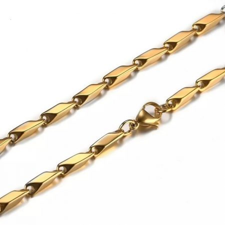 Nemesacél nyaklánc arany színben rombusz mintával