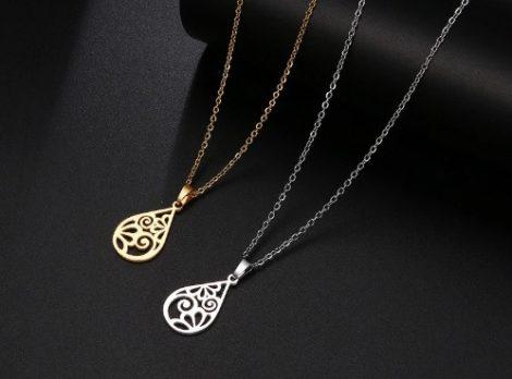 Acél nyaklánc hosszúkás medállal arany vagy ezüst színben