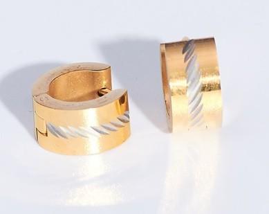 Acél fülbevaló arany színben ezüstös vágásokkal