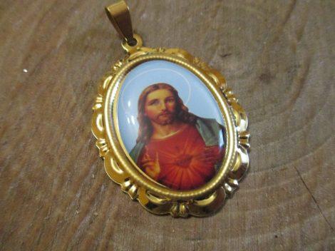 Nemesacél Jézus képes ovális medál