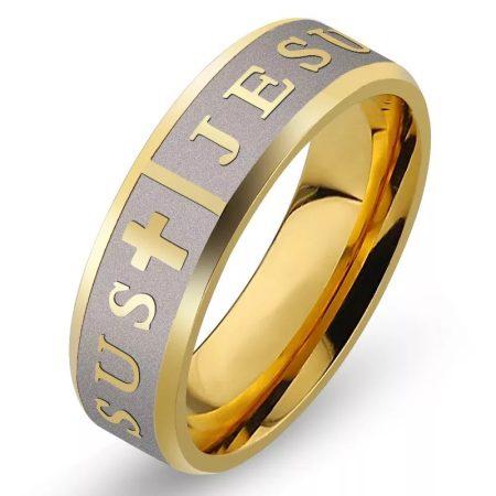 Nemesacél gyűrű Jézus felirattal