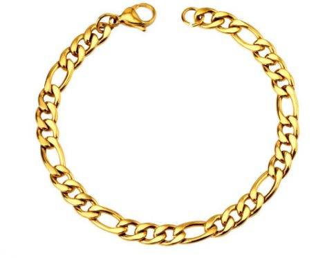 Nemesacél figaro arany színű férfi karkötő