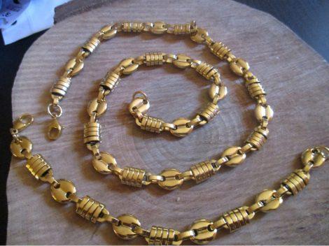 Nemesacél barakka nyaklánc és karkötő szett arany színben