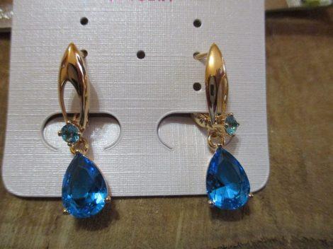 Arany színű fülbevaló világoskék csepp alakú kristállyal