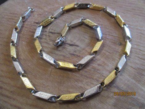 Nemesacél arany-ezüst színű nyaklánc görög mintával