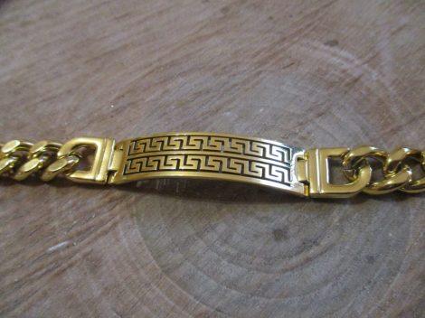 Nemesacél karkötő görög mintával, arany színben