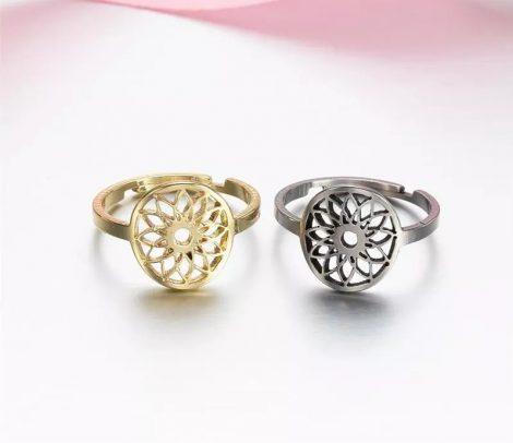Kerek mintás állítható gyűrű arany vagy ezüst színben