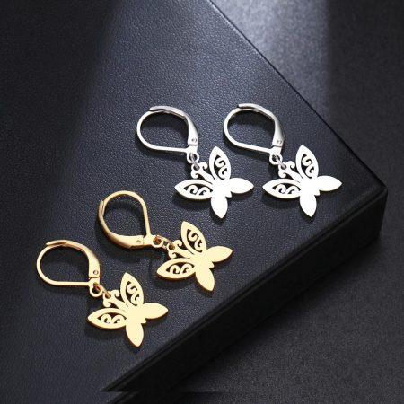 Pillangó formájú nemesacél fülbevaló arany vagy ezüst színben