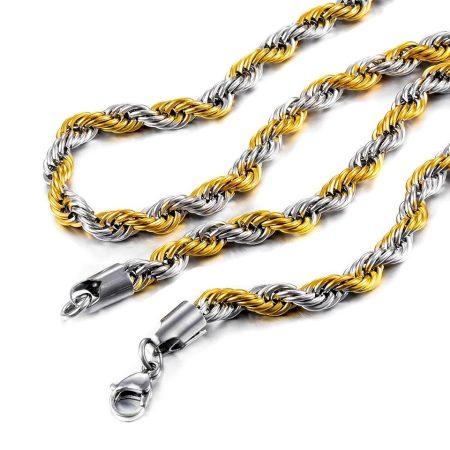 Nemesacél csavart nyaklánc arany-ezüst színben