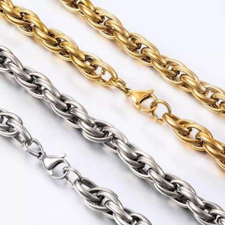 Vastag barakka nemesacél nyaklánc arany vagy ezüst színben