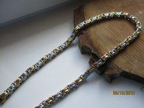 Bizánci mintás nemesacél nyaklánc arany-fehérarany színben