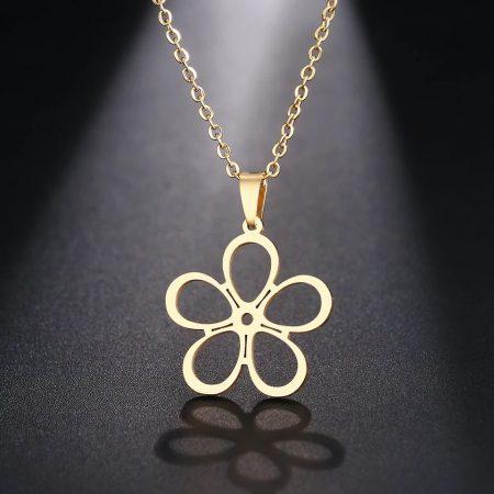 Acél nyaklánc virágos medállal
