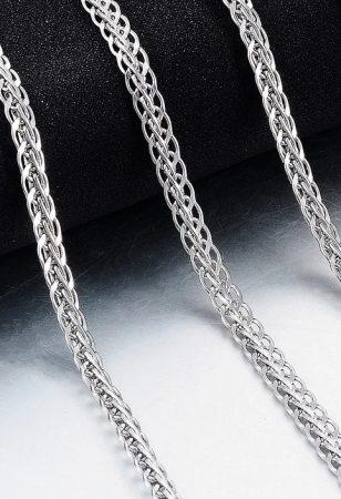 Fonott mintás acél nyaklánc ezüst színben