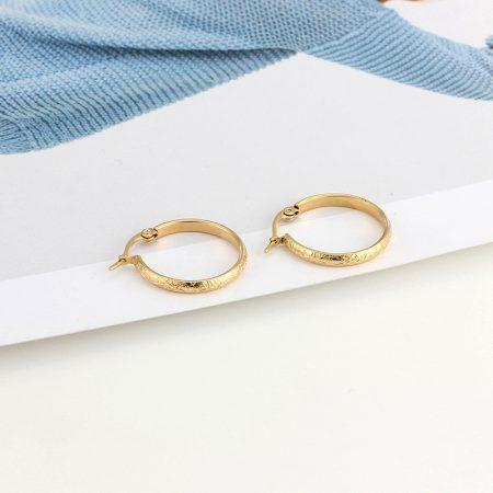 Nyomott mintás acél karikafülbevaló arany vagy ezüst színben