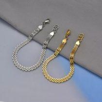 Lapos szövésű acél karkötő arany vagy ezüst színben