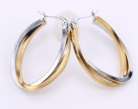 Ovális acél fülbevaló arany-ezüst színben
