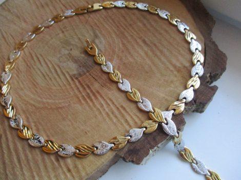 Nemesacél nyaklánc és karkötő szett arany-ezüst színben