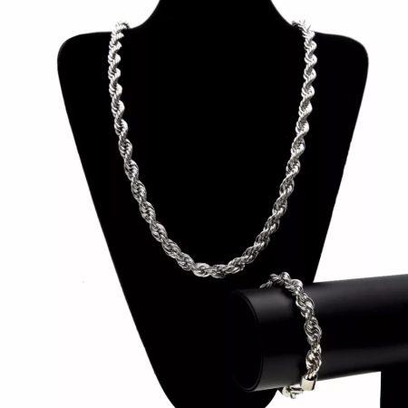 Ezüst színű nemesacél csavart nyaklánc és karkötő szett