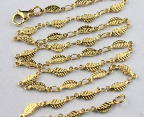 Levél mintás nemesacél nyaklánc arany színben