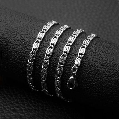 Görög / csiga mintás nemesacél nyaklánc ezüst színben