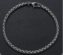 Fonott kialakítású acél karkötő ezüst színben
