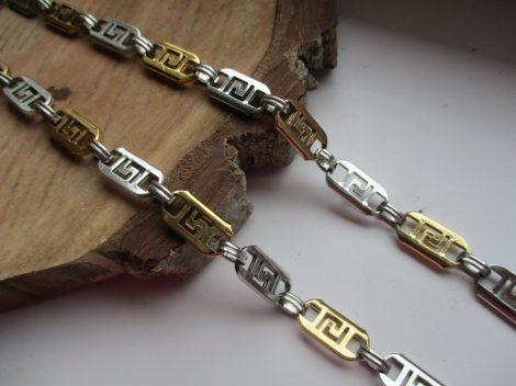 Lapos fazonú görög mintás acél nyaklánc