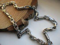 Acél nyaklánc királylánc fazonban ezüst színben