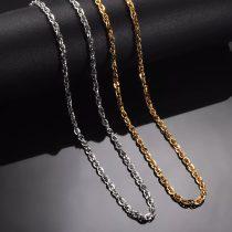 Csavart acél nyaklánc arany vagy ezüst színben