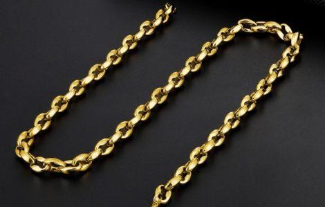 Barakka hatású acél nyaklánc arany színben
