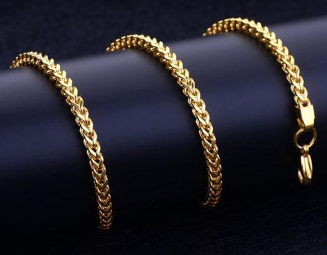 V szövésű acél nyaklánc arany színben