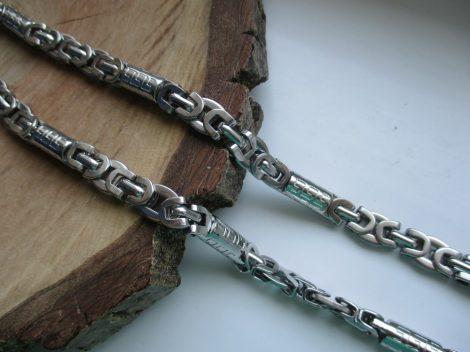 Királylánc fazonú acél nyaklánc görög mintával