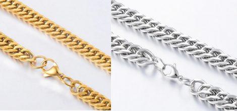 Vastag acél nyaklánc sűrű szemekkel arany vagy ezüst színben