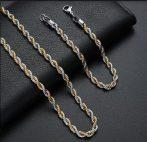 Nemesacél nyaklánc és karkötő szett arany-ezüst színben csavart mintával