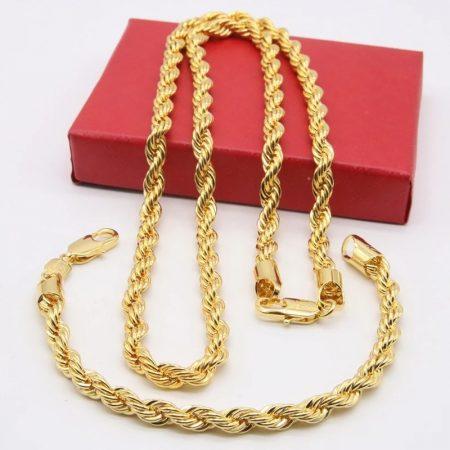 Nemesacél csavart nyaklánc és karkötő szett arany színben