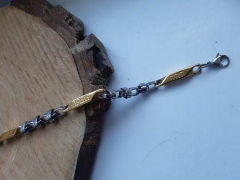 Nemesacél karkötő görög mintával aran-ezüst színben