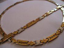 Arany-ezüst színű nemesacél nyaklánc és karkötő szett
