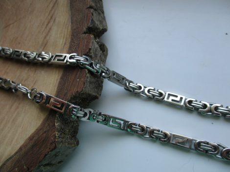 Ezüst színű nemesacél nyaklánc bizánci mintával