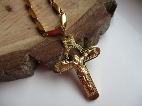 Nemesacél nyaklánc és görög mintás kereszt medál arany színben