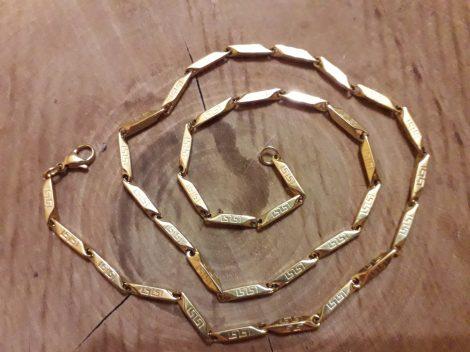 Görög mintás arany színű nemesacél nyaklánc