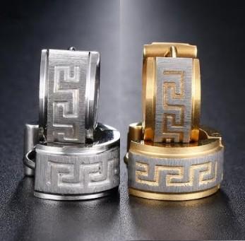 Nemesacél görög mintás fülbevaló arany-ezüst vagy ezüst színben