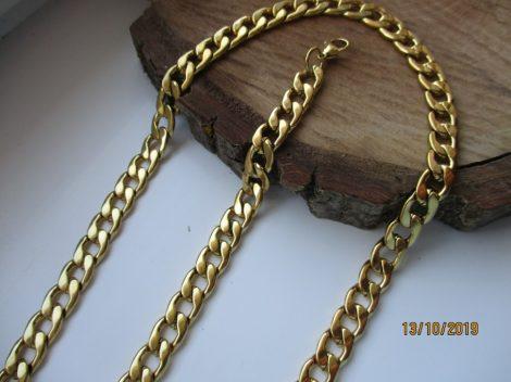 Nemesacél férfi  nyaklánc és karkötő szett arany színben