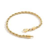 Csavart mintás nemesacél arany színű karkötő