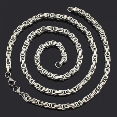 Nemesacél nyaklánc és karkötő szett lánc mintával ezüst színben
